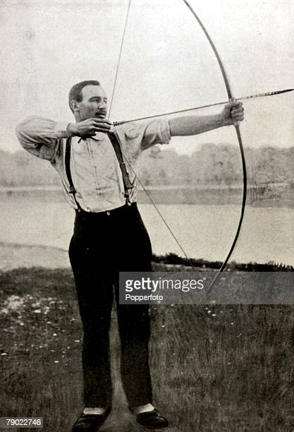 Sport Archery 1900 Olympic Games Paris France Henri Herouin France the winner of the Au cordon dore50 metres which is now an Olympic discontinued...
