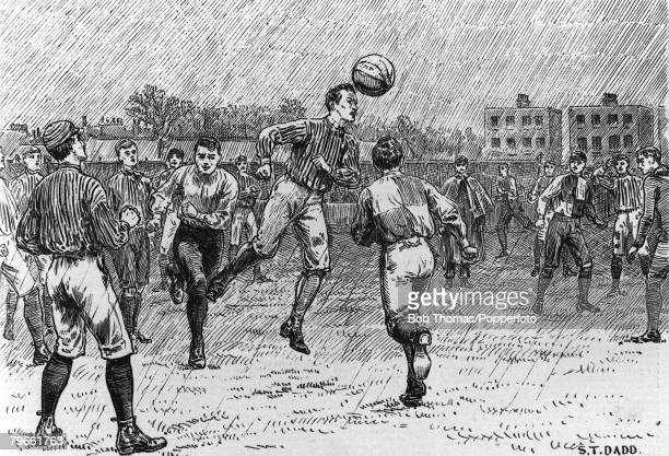 Sport Association Football London England An illustration by STDadd of a match between Oxford and Cambridge