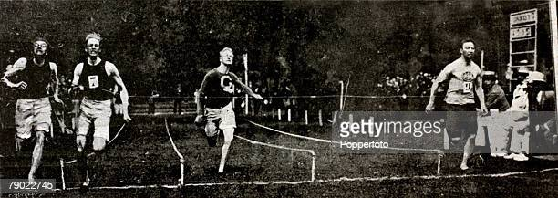Sport Athletics 1900 Olympic Games Paris France Mens 60 metres sprint USA's Alvin Kraenzlein far left wins the Gold medal from fellow countryman John...