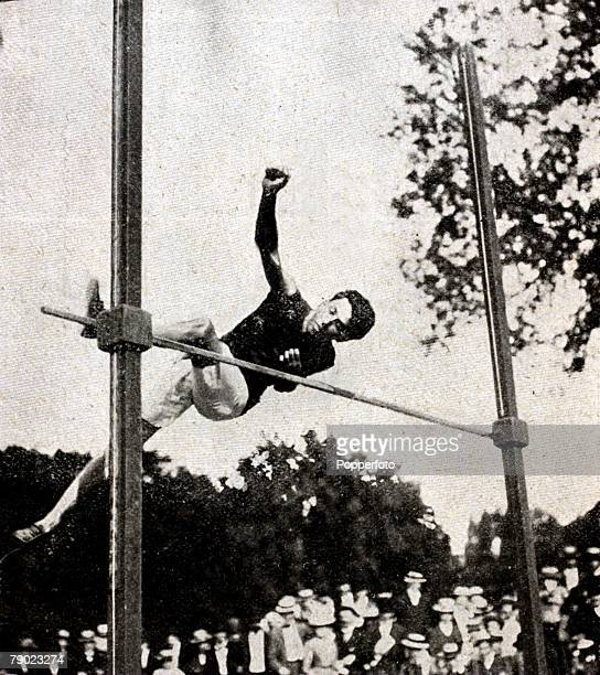 Sport Athletics 1900 Olympic Games Paris France Mens High Jump The Gold medal winner Irving Baxter of the USA seen in action