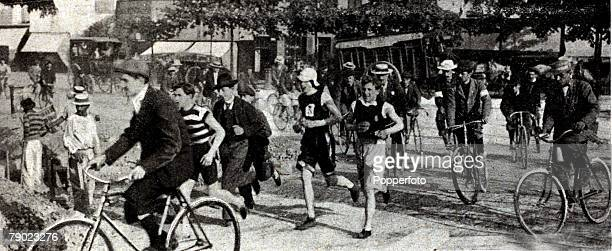 Sport Athletics 1900 Olympic Games Paris France Mens Marathon This was one of the most confusing of Marathon's as the picture shows cyclists and...