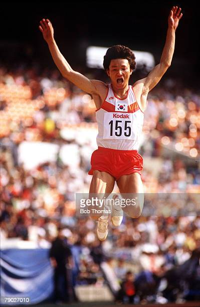 Sport Athletics Asian Games Seoul South Korea 4th October 1986 Mens Long Jump South Korea's JongIl Kim is pictured on his way to winning the Gold...