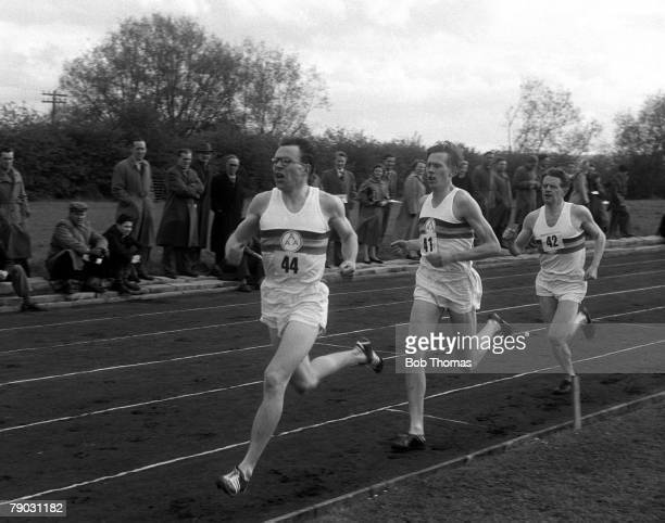 Sport Athletics Four Minute Mile Iffley Road Oxford England 6th May 1954 Great Britain's Chris Brasher leads from Roger Bannister and Chris Chataway...