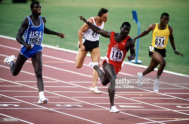 Sport Athletics IAAF World Championships Rome Italy 30th August 1987 Mens 100 metres Final Canada's Ben Johnson crosses the line to take the Gold...