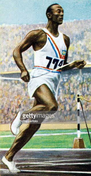 circa 1930's Famous USA athlete Jesse Owens the 1936 Olympic Games triple gold medal winner at 100 metres 200 metres and the Long Jump