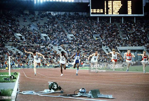 1980 1980 Olympic Games in Moscow Great Britain's Alan Wells far leftlunges forward to win the Mens 100 metres gold medal