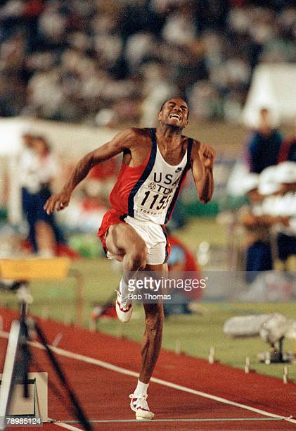 1991 3rd World Athletics Championships in Tokyo Mens Long Jump Final Mike Powell USA the Gold Medal winner with a new world record
