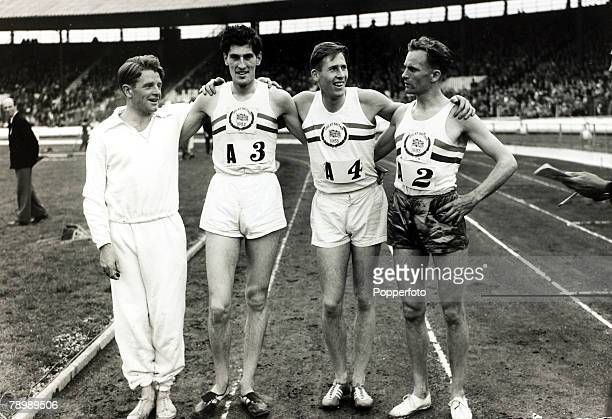 August 1953 White City London The British runners that set a new world record of 16 mins 41 secs when winning the Mile relay event lr Chris Chataway...