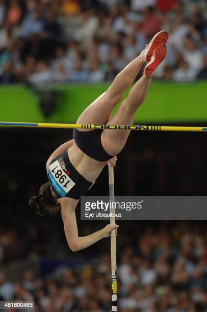 Sport Athletics Pole Vault Scotlands Pole Vaulter Kirsty Maguire clearing the high bar 2006 Commonwealth Games Melbourne Australia
