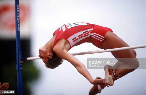 Sport Athletics Women's High Jump England 1980's Great Britain's AnneMarie Cording clears the bar