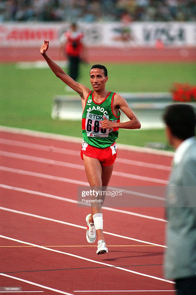 Sport Athletics World Championships Rome Italy 6th September 1987 Mens 5000 metres Final Morocco's Said Aouita celebrates after winning the race in a...