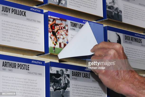 Sport Australia Hall of Fame Inductee and legend AFL footballer Tony Lockett unveils his plaque at the National Sport museum before the Annual...
