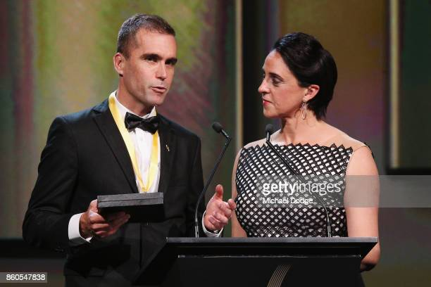 Sport Australia Hall of Fame Inductee and legend Cyclist Brad McGee speaks on stage at the Annual Induction and Awards Gala Dinner at Crown Palladium...