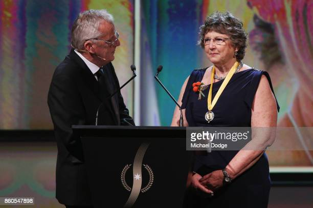 Sport Australia Hall of Fame Inductee and sports medicine Dr Grace Bryant speaks at the Annual Induction and Awards Gala Dinner at Crown Palladium on...