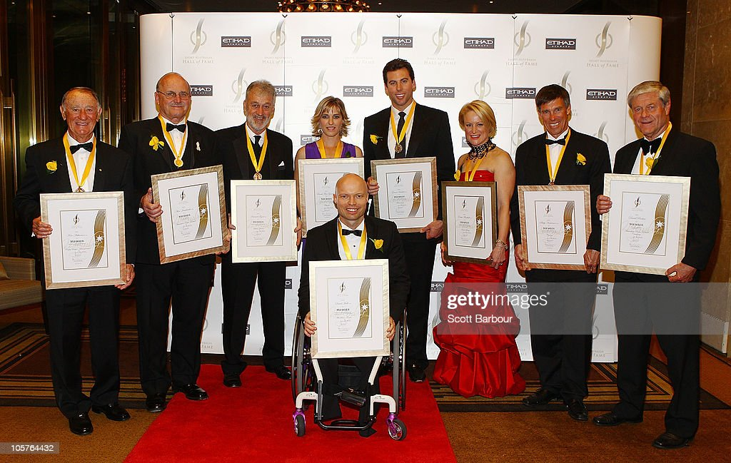 Sport Australia Hall of Fame inductees Grant Hackett, Sarah Fitzgerald, Ken Arthurson, David Parkin, Phillip Anderson, Kirstie Marshall, Alex Jesaulenko and David Hall pose with their awards during the Sport Australia Hall of Fame at Crown Casino on October 20, 2010 in Melbourne, Australia.