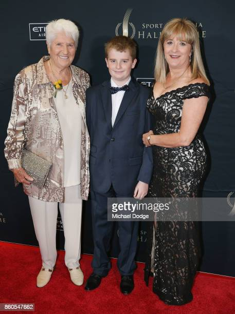 Sport Australia Hall of Fame legend Dawn Fraser poses with daughter DawnLorraine Fraser and grandson Jackson the Annual Induction and Awards Gala...
