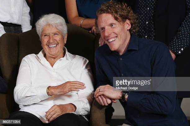 Sport Australia Hall of Fame legend Dawn Fraser poses with legend polevaulter Steve Hooker at the National Sport museum before the Annual Induction...
