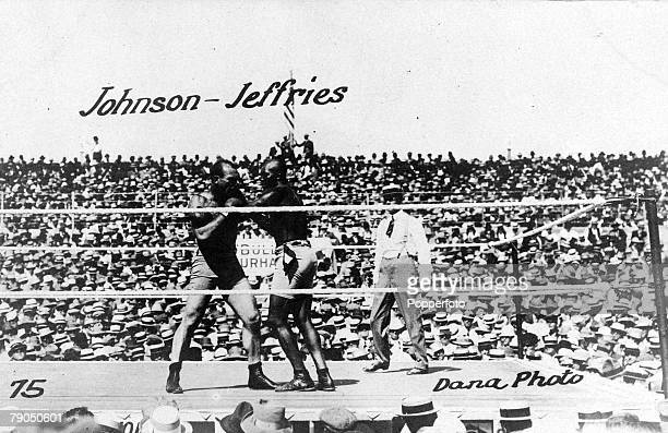 Sport Boxing 4th July 1910 Reno Nevada USA Heavyweight Championship First black champion Jack Johnson defeated James J Jeffries when the referee...