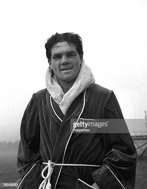 Sport Boxing England Portrait of Sgt Freddie Mills of the RAF outside in his dressing gown Freddie later became Light Heavyweight World Boxing...