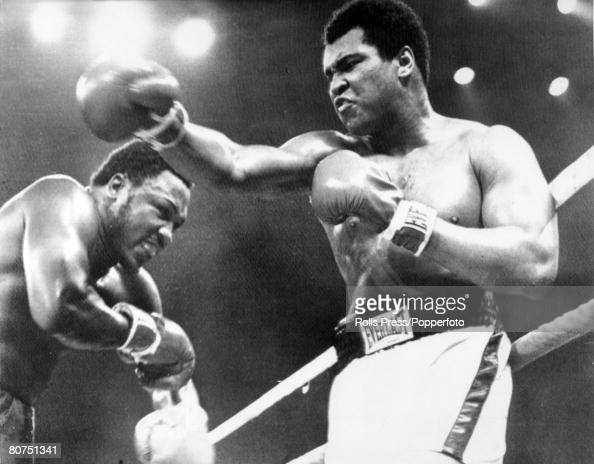 1st October 1975 World Heavyweight Championship The 'Thrilla in Manila' Seventh Round Heavyweight Champion Muhammad Ali right who beat challenger Joe...