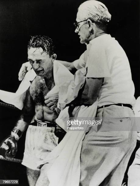 25th September 1957 World Welterweight Championship in Syracuse New York Carmen Basilio cries with emotion after a TKO victory over Johnny Saxton to...