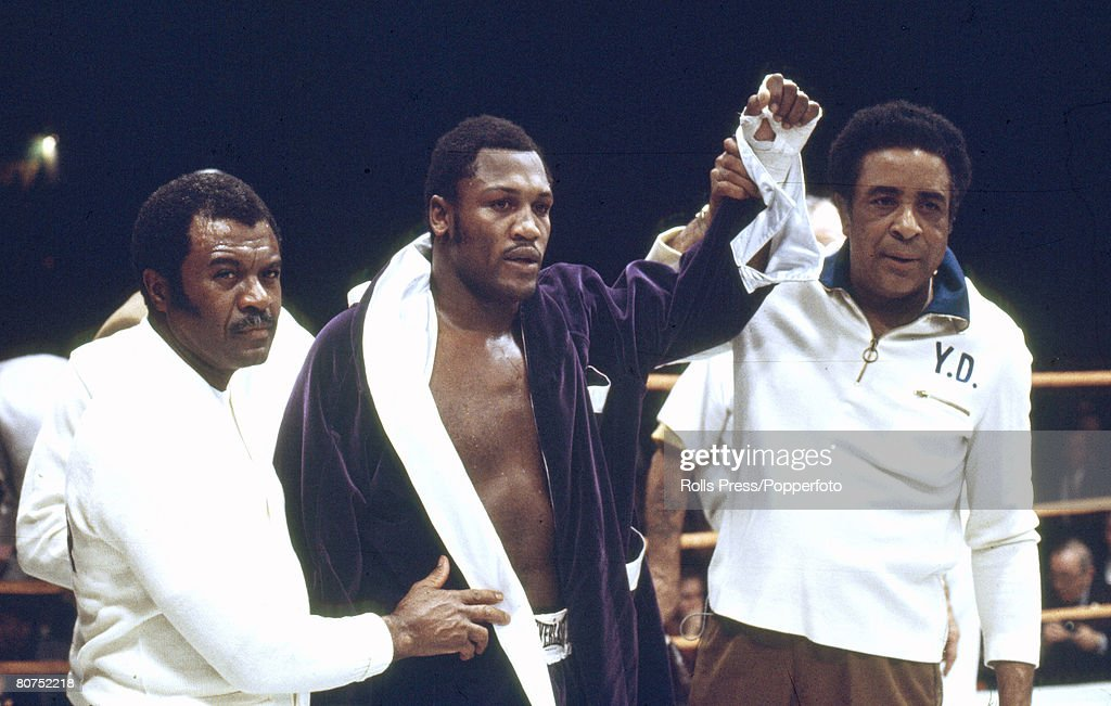Sport, Boxing, World Heavyweight Championship, Los Angeles, pic: 15th January 1972, Joe Frazier, USA, after beating Terry Daniels to retain his title , the fight ending with the referee stopping the fight in the 4th round, Frazier's trainer Yank Durham is pictured, right