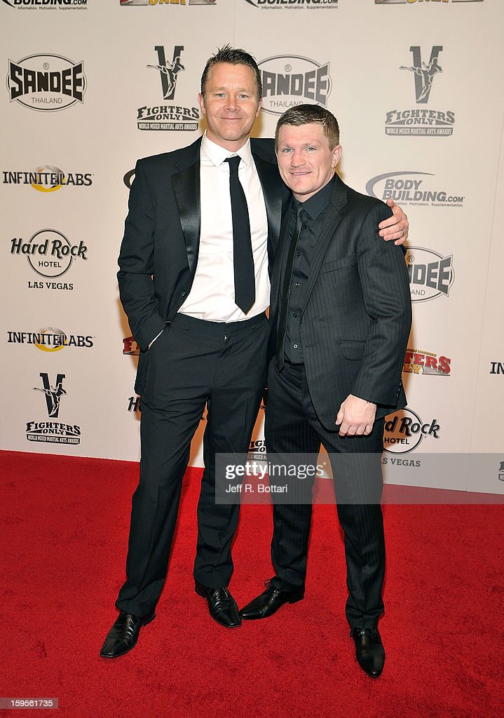 CEO Sport Brands Group, Steve Hewitt and Ricky Hatton, retired boxing professional, arrive at the Fighters Only World Mixed Martial Arts Awards at the Hard Rock Hotel & Casino on January 11, 2013 in Las Vegas, Nevada.