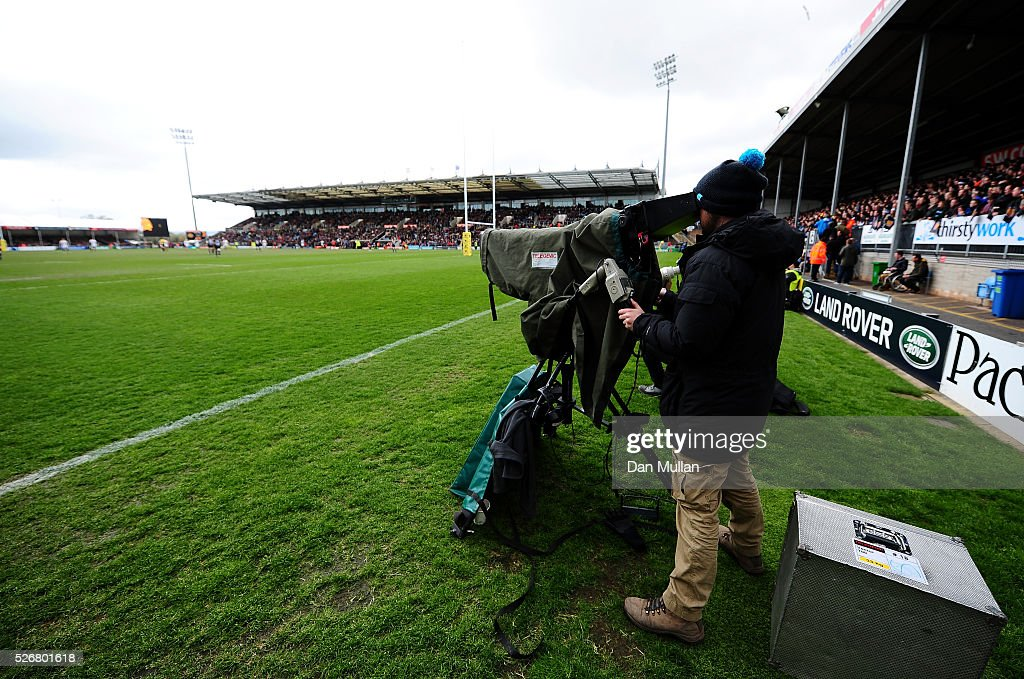 Sport Cameraman films the action during the Aviva Premiership match between Exeter Chiefs and Wasps at Sandy Park on May 01, 2016 in Exeter, England.