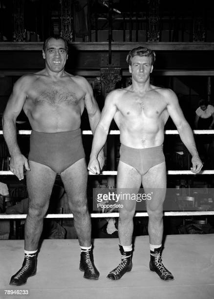 13th September 1954 Former Heavyweight Boxing Champion Primo Carnera left and Joe Robinson the 1951 World Heavyweight Wrestling Champion pictured...