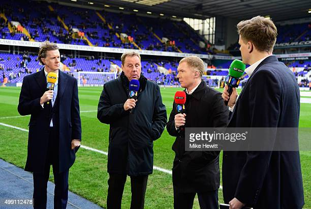 Sport commentators Steve McManaman Harry Redknapp Paul Scholes and Jake Humphrey talk prior to the Barclays Premier League match between Tottenham...