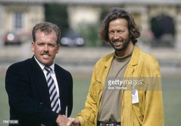 Sport Cricket Charity Match in Northamptonshire pic August 1989 Rock star Eric Clapton right meets Northamptonshire cricketer Richard Williams before...