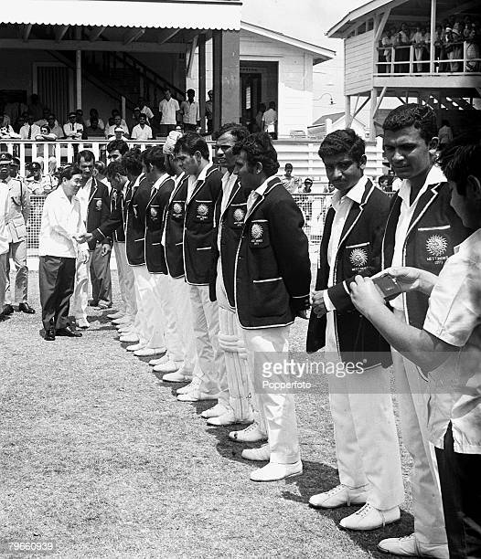 Sport Cricket Georgetown Guyana 25th March 1971 West Indies v India Third Test Match The President of Guyana Arthur Chung is introduced to the Indian...