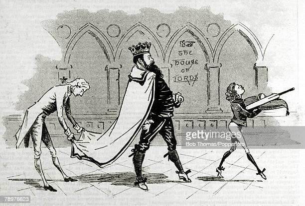 1893 A humorous illustration showing the much revered Gloucestershire and England cricketer WG Grace being escorted to the House of Lords This sketch...