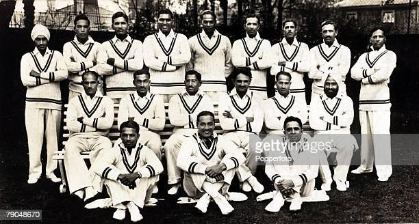 Sport Cricket India cricket team Back rowlr Lall Singh PPalia Jahangir Khan Mahomed Nisar Amar Singh BKapadia SGodambe Ghulam Mahomed JNavie Middle...
