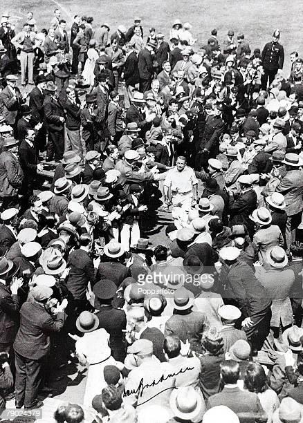 Sport Cricket July 1930 The Ashes 3rd Test match Headingley Yorkshire England v Australia Match drawn Australian batsman Donald Bradman leaves the...