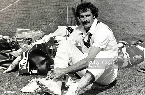 13th May 1981 Australia's Dennis Lillee one of the greatest fast bowlers of all time pictured in the nets at Lord's