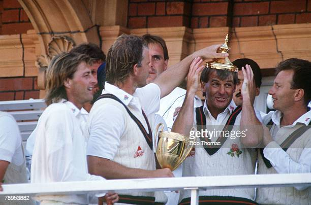 14th July 1990 Benson and Hedges Cup Final at Lord's Lancashire beat Worcestershire Lancashire's Trevor Jesty is 'crowned' by Paul Allott Trevor...