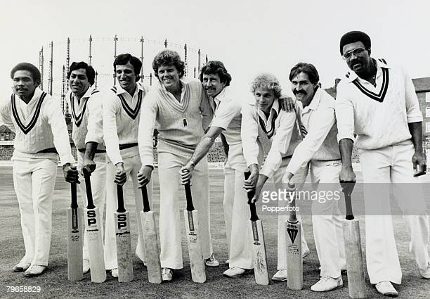 14th September 1979 The lineup at the Oval prior to the International Batsman of the Year Challenge Cup lr Gordon Greenidge Zaheer Abbas Asif Iqbal...