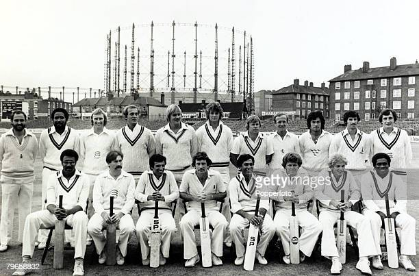 14th September 1979 The lineup at the Oval prior to the International Batsman of the Year Challenge Cup Front row lr Clive Lloyd Graham Gooch Asif...