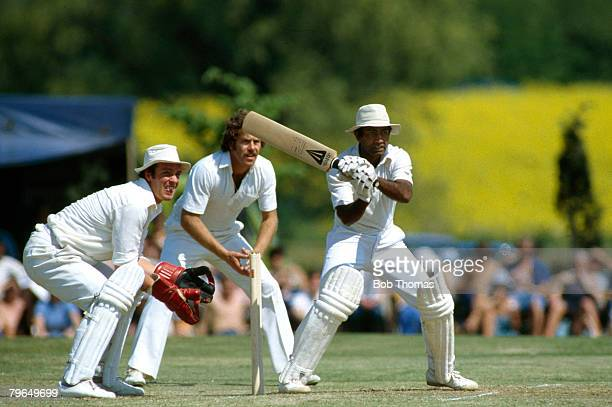 18th May 1980 Tour Match Northamptonshire v West IndiesWest Indies Alvin Kalllicharran batting watched by Northants wicketkeeper George Sharp and...
