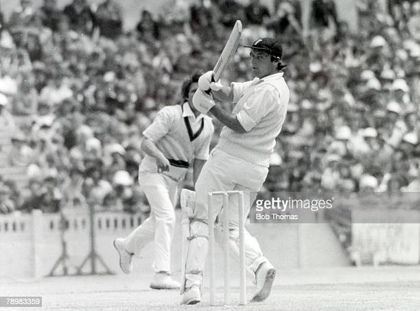 1977 2nd Test Match at Old Trafford England beat Australia by 9 wickets England batsman Bob Woolmer hooks a ball to the boundary off the bowling of...