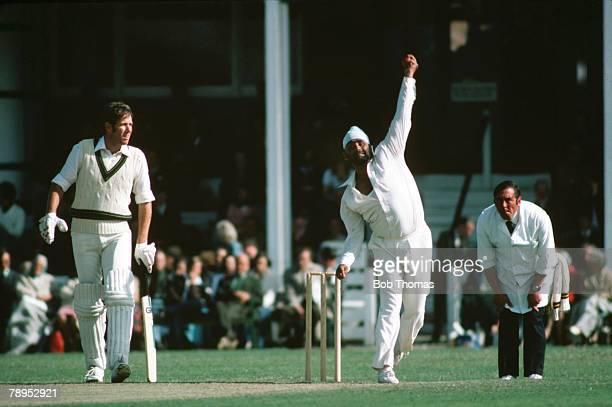 1977 Northamptonshire v Australia at the County Ground Northampton Northamptonshire's Bishen Singh Bedi bowling as Australia batsman Rick McCosker...