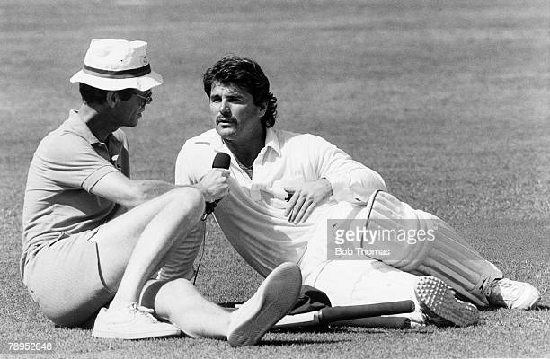 24th October 1987 Cricket World Cup at Jaipur England's Allan Lamb being interviewed by BBC Sports commentator Christopher Martin Jenkins Allan Lamb...
