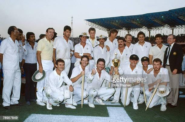 8th November 1987 Cricket World Cup Final Calcutta Australia beat England by 7 runs The winning Australia team with captain Allan Border and future...