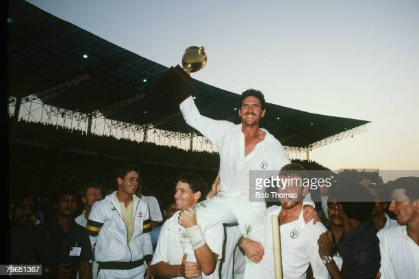 8th November 1987 Cricket World Cup Final in Calcutta Australia beat England by 7 runs Allan Border the Australia captain is chaired by Dean Jones...