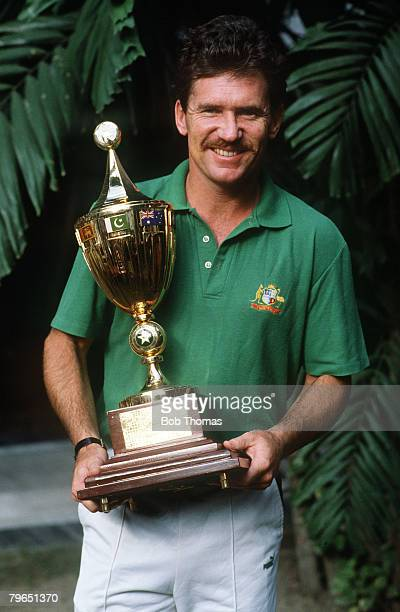 8th November 1987 Cricket World Cup Final in Calcutta Australia beat England by 7 runs Allan Border the Australia captain with the World Cup trophy...