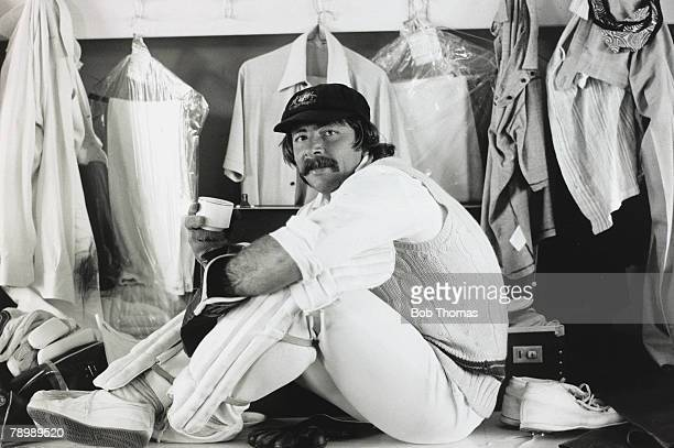 August 1977 5th Test Match at the Oval England v Australia Match Drawn Australia wicketkeeper Rod Marsh relaxes with a cup of tea in the dressing...
