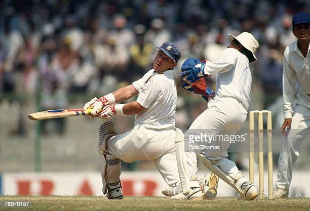 February 1993 2nd Test Match in Madras India beat England by innings 22 runs England's Robin Smith during his innings of 56 runs South African born...