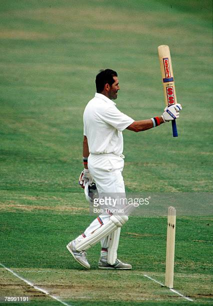 July 1990 1st Cornhill Test Match Lord's England v India England's Graham Gooch celebrates as he reaches 300 runs on his way to his score of 333 runs...