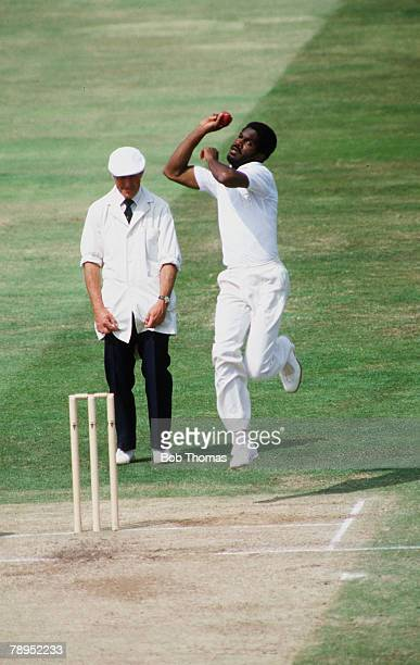 June 19841st Cornhill Test Match at Edgbaston England v West Indies West Indies fast bowler Michael Holding about to bowl another hostile delivery